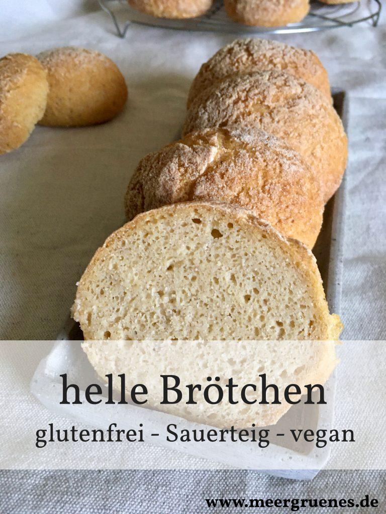 Rezept für helle Brötchen mit Sauerteig - glutenfrei - vegan - natürlich