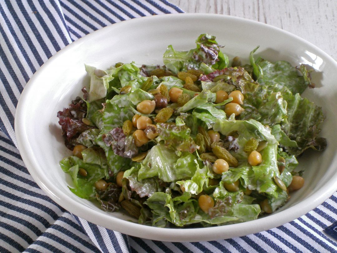 Rezepte - Salat - Mittagessen - Kichererbsensalat mit Rosinen - glutenfrei - vegan - kochen