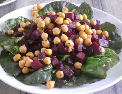 Rezepte - Hauptgerichte - Salat -Gemüse - rote Beete Salat mit Kichererbsen - weizenfrei - vegan - kochen