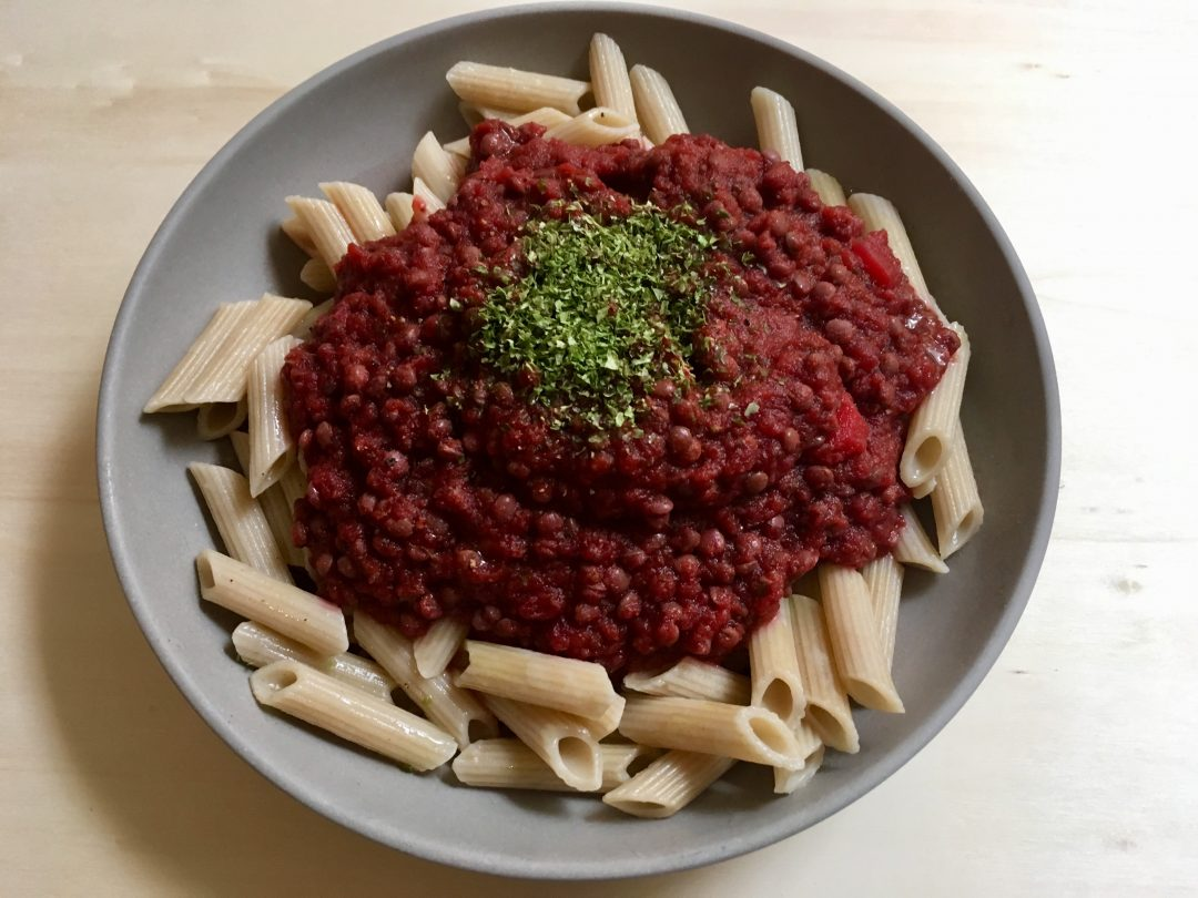 Rezepte - Hauptgerichte - Pasta - Nudeln - Linsen-Bolognese - glutenfrei - zuckerfrei