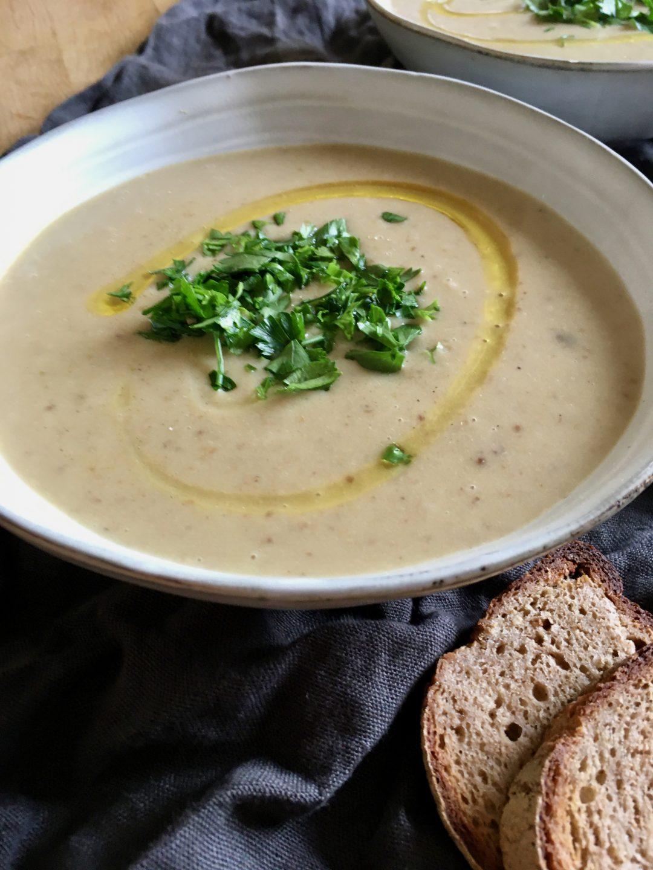 Rezept für Kartoffel-Steinpilz Suppe mit gelben Linsen - vollwertig vegan